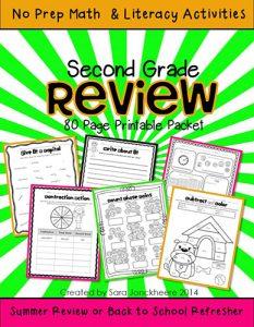 2nd Grade Summer Skills WEB